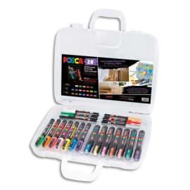 UNI POSCA Mallette de 20 marqueurs pointe conique extra fine/ fine/ moyenne assorties couleurs festives photo du produit