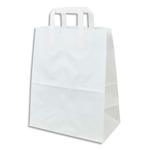 Paquet de 250 Sacs papier Kraft recyclé Blanc, 70g, 8 kg, poignées plates - L22 x H28 x P11 cm photo du produit Principale L