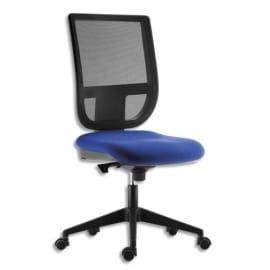 Siège Tertio dossier résille Noir et assise tissu Bleu, à mécanisme synchrone, sans accoudoirs photo du produit