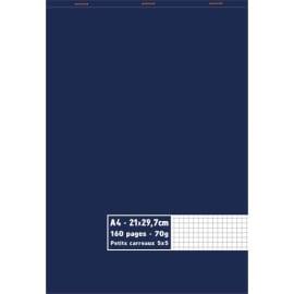 Bloc 70g agrafé en tête 160 pages petits carreaux 5x5 grand format A4 21 x 29,7 cm photo du produit
