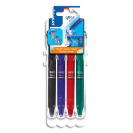 PILOT Evolutive Set de 4 rollers FriXion Clicker pointe moyenne 0,7mm. Assortis Noir, Bleu, Rouge, Vert photo du produit