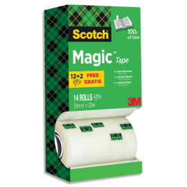 SCOTCH Tour distributrice de 14 rouleaux de ruban adhésif Magic invisible dont 4 offerts - 19 mm x 33 m photo du produit