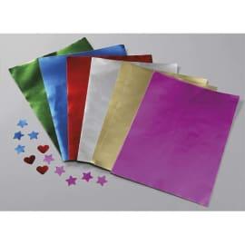 O COLOR Ramette 100 feuilles métallisées 1 face, format A4, couleurs or, Rouge, Rose, argent, Vert, Bleu photo du produit