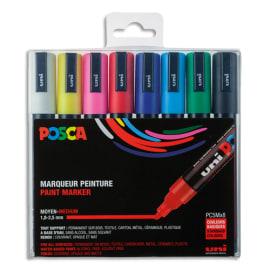 UNI POSCA Pochette 8 marqueurs peinture à eau, encre pigmentation assortie, pte moyenne photo du produit