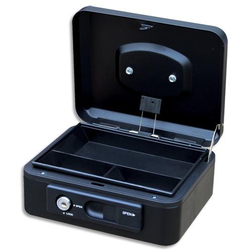 PAVO Caisse à monnaire 20cm/3compartim, ouverture auto bouton poussoir+serrure cylindrique Noire 8007516 photo du produit Principale L