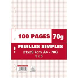 Sachet de 100 pages copies simples grand format A4 petits carreaux 5x5 70g perforées photo du produit