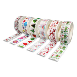 SODERTEX Pack de 6 Rubans adhésifs Thème Noël - Dimensions : H15 mm x L10 m photo du produit