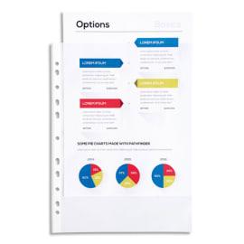 EXACOMPTA Sachet de 100 pochettes perforées A4 en polypropylène lisse 6/100e cristal photo du produit