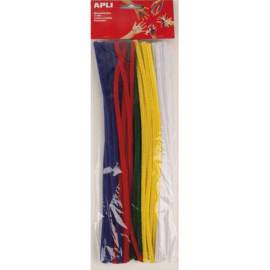 APLI Sachet de 50 chenilles 30 cm, diamètre 6 mm, couleurs assorties, Bleu, Jaune, Rouge, Vert, Blanc photo du produit