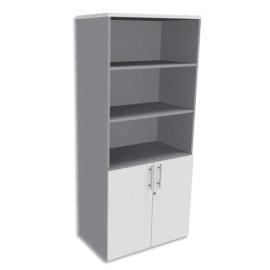 SIMMOB Bibliothèque Haute aluminium porte basse, top Blanc perle EXPRIM - Dim. : L80 x H180 x P47 cm photo du produit