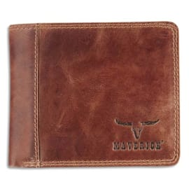 MAVERICK Porte-monnaie RFID, 2 poches, 8 compartiments, poche monnaie - ft : 11 x 9,8 cm en cuir Marron photo du produit
