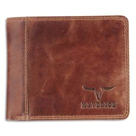 BREPOLS Porte-monnaie RFID, 2 poches, 8 compartiments, poche monnaie - ft : 11 x 9,8 cm en cuir Marron photo du produit
