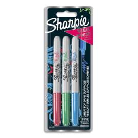 SHARPIE Pochette de 3 marqueurs Sharpie Fine METALLIC Vert, Bleu, Rouge photo du produit
