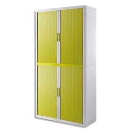 PAPERFLOW EasyOffice armoire démontable corps en PS teinté Blanc rideau Vert - Dim L110x H204x P41,5 cm photo du produit