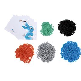 SODERTEX Pack de 1500 Aqua Perles Aqua'Nimals D3 mm, 5 coloris assortis + 10 feuilles modèles 7,8x7,8 cm photo du produit