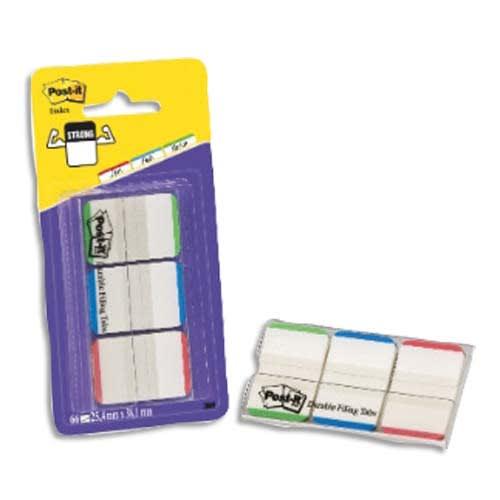POST-IT Blister de 3 x 22 marque-pages rigides 25x44 mm, transparent liseret Orange/Rose/vert photo du produit Principale L