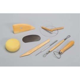 O COLOR Kit du potier 8 outils Eponge, estèque bois + métal, tournasin, mirette, aiguille, ébauchoir, fil photo du produit