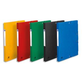 OXFORD Boîte classement non montée BOSTON,carte lustrée 7/10e. Dos 2,5cm.Ass : Bleu,vert,Noir,rouge,Jaune photo du produit