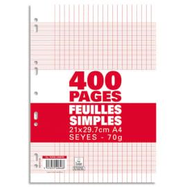 Sachet de 400 pages copies simples grand format A4 grands carreaux Séyès 70g perforées photo du produit
