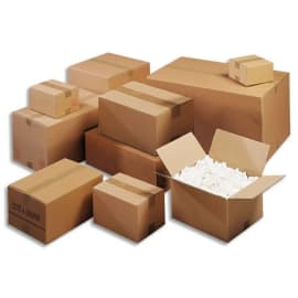 Paquet de 15 caisses américaines double cannelure en kraft écru - Dimensions : 31 x 22 x 25 cm photo du produit