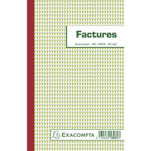 EXACOMPTA Manifold Factures 21x13,5cm - 50 feuillets tripli autocopiants photo du produit Principale L