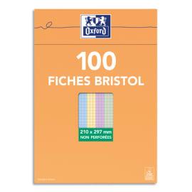 OXFORD Boîte distributrice 100 fiches bristol non perforées 210x297mm (A4) 5x5 assortis photo du produit