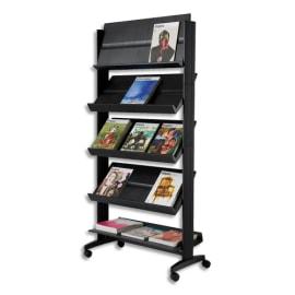 PAPERFLOW Présentoir de sol 5 tablettes mobile Noir L 85,5 x H 167,5 x P 38,5 cm photo du produit
