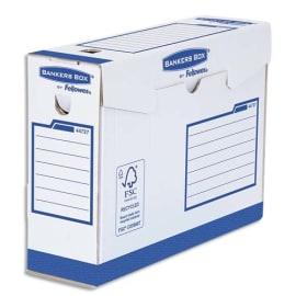 BANKERS BOX Boîte archives dos de 10 cm HEAVY DUTY. Montage manuel, en carton Blanc/Bleu. photo du produit