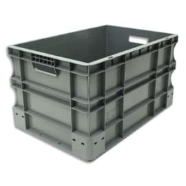 VISO Bac de rangement Gris en polypropylène, gerbable, charge 40 kg - Dimensions : L60 x l40 x H33 cm photo du produit