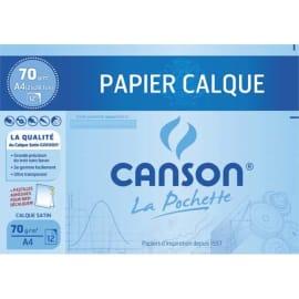 CANSON Pochette de 12 feuilles papier calque satin 70g format A4 livrée avec pastilles repositionnables. photo du produit