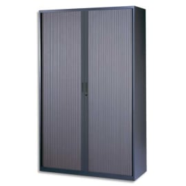 MT INTERNATIONAL Armoire haute monobloc éco Corps et Rideau anthracite - Dimensions L120 x H198 x P43 cm photo du produit