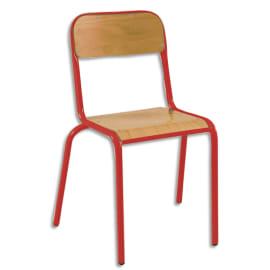 SODEMATUB Lot de 4 chaises scolaire Alexis, hêtre, Rouge, assise 35 x 36 cm, taille 5 photo du produit