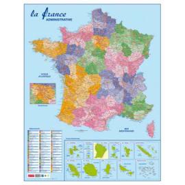 CBG Carte France Administrative, Routière et Dom-Tom murale- Pélliculée 66x84,5cm - 4 œillets pour susp. photo du produit