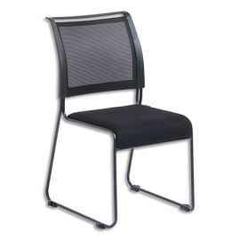 Lot de 2 Chaises Dacada assise en tissu et dossier résille Noir, piètement luge en acier - H84 cm, L42 cm photo du produit