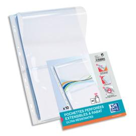 OXFORD Sachet de 10 pochettes-plan avec rabat en PVC 30/100e. Format A4, perforation 9 trous photo du produit