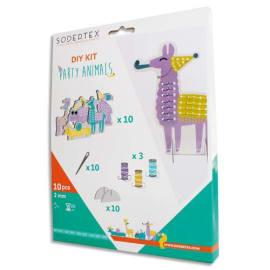 SODERTEX Kit de 10 cartes à border Party Animals Assortis taille 8-16 cm, 3 bobines de fils, 10 aiguilles photo du produit