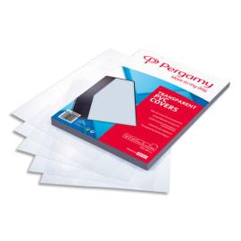 PERGAMY Boîte de 100 plats de couverture PVC A4 200 microns transparents 900050 photo du produit