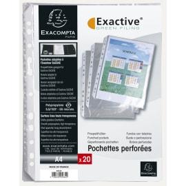 EXACOMPTA Sachet 20 pochettes EXACTIVE PP. Format A4 portrait/vertical. (perforations grand côté) photo du produit