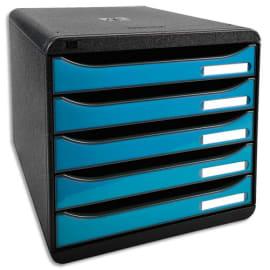 EXACOMPTA Module de classement 5 tiroirs. Coloris Noir/Turquoise glossy. Dim : L27,8 x H26,7 x P34,7 cm. photo du produit