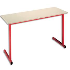 SODEMATUB Table scolaire biplace, hêtre, Rouge - Dimensions : L130 x H74 x P50 cm, taille 3 photo du produit