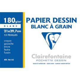CLAIREFONTAINE Pochette de 12 feuilles papier dessin Blanc A4 180g Ref-96155 photo du produit