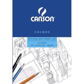 CANSON Bloc papier calque Satin 25 feuilles grand format A4 90g photo du produit
