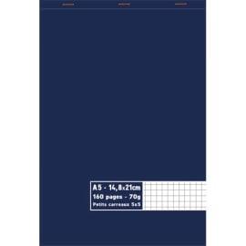 Bloc 70g agrafé en tête 160 pages petits carreaux 5x5. Format A5 14,8 x 21 cm photo du produit