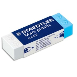 STAEDTLER Gomme plastique Mars Combi de, un coté Blanc pour le crayon, un coté Bleu pour l'encre 526508 photo du produit