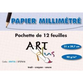 ART PLUS Pochette de 12 feuilles papier millimétré 90g format A4 photo du produit