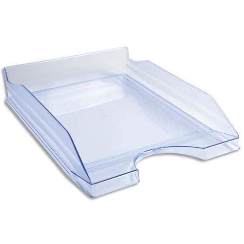 Corbeille à courrier ECO en polystyrène, Bleu translucide - Dimensions : L25,5 x H6,5 x P34,5 cm photo du produit Principale L