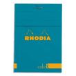 RHODIA Bloc coloR agrafé en-tête 8,5x12 (n°12) 140 pages lignées. Couverture rembordée Turquoise photo du produit