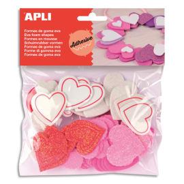 AGIPA Sachet de 52 cœurs pailletés en mousse adhésifs couleurs assorties photo du produit