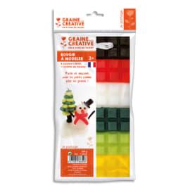 GRAINE CREATIVE 6 plaques de cire à modeler 240g, Noir,Rouge,Blanc,Jaune,vert clair,vert foncé photo du produit