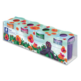 STAEDTLER Set de 4 pots pate à modeler Noris Club 130g Rose Orange Vert Violet photo du produit